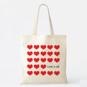 Love is All Heart Pattern Tote Bag