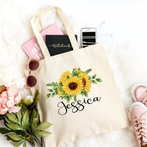 Personalized Sunflower Tote Bag