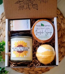 Sunflower Candle and Self Care Spa Box